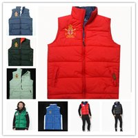 Wholesale Rivet Hats - 8 color Free send Men PoLo cotton wool collar hooded down vests sleeveless jackets plus size quilted vests Men PAUL vests outerwear,S-XXL