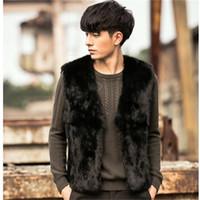 Wholesale Sell Rabbit Fur Coat - Wholesale- Best Selling!2016 New Winter Men Faux Rabbit Fur Vests Thick Warm Coats Black Fashion Leisure Youth Fur Waistcoat Plus Size