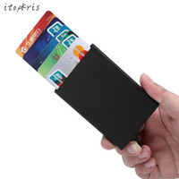 Wholesale Name Card Wallet - High Quality Automatic Card Holder Rfid Wallet Aluminum Alloy Magic Pop Up Click Slide Men ID Name Credit Card Case