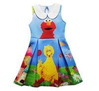 Wholesale Sesame Street Clothes - 2017 New Girls Dress Elmo Cartoon Belle Dresses Sesame street Cookie Monster Children Summer Clothing Kid Girls Princess Dresses