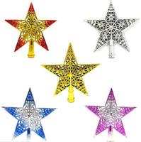décorations d'étoiles en plastique achat en gros de-5pcs / lot arbre de noël haut étoile ornements en plastique étoile arbre de noël maison fête de noël fournitures de décoration