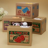 Wholesale Cute Piggies - Wholesale-Hot Sale Cute Automated Cat Steal Coin Bank Piggy Bank Moneybox Money Saving Box Gifts digital coin Funny Toys