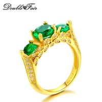 Elegant Yellow Gold Plated Emerald Green Rings Full Size CZ Diamond para mulheres atacado Crystal Jewelry DFR625