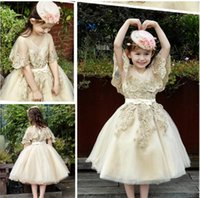 Wholesale Girls Organza Wraps - Champagne Short Flower Girl Dresses With Wrap Sheer V Neck Sequins Lace Applique Sash Bow Birthday Dresses Pretty Organza Princess Dresses