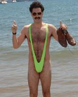 Wholesale Elastic Thong Men - Wholesale- Green Borat Mankini Thong Lingerie Fancy Dress men panty