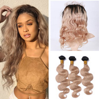 ingrosso bionda ombre frontal vergine del merletto dei capelli-Ombre 360 ​​Frontal Band Band con pacchi 1B / 27 Honey Blonde Ombre Body Wave Virgin Human Hair con 22.5x4x2 '' Full Frontals
