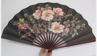 "Wholesale Chinese Fabric Fans For Dances - 10"" Large Folding Silk Fan Ethnic Handicrafts Gift Vintage Chinese Hand Fans for Mens Dance Show Props"