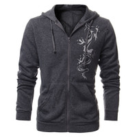 Wholesale Tattoo Dragon New - Wholesale-New 2016 Autumn Mens Fleece Slim Fit Hoodies Male Dragon Tattoo Printed Jacket Casual Cardigan Zipper Sweatshirt 5 Colors