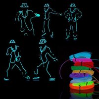 Couleurs de fil de néon France-2M Flexible Neon Light Glow EL Chaîne de fil stroboscopique pour Bar Car Dance Party 8 couleurs avec contrôleur Livraison gratuite
