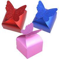 ingrosso scatole dolci della farfalla-6 * 6 * 6.5cm Decorazione di cerimonia nuziale 100 pezzi Dolce farfalla Caramella Partito Festival favore regalo di alluminio foglio di cartone
