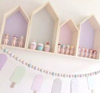 Wholesale Doll Rack - 2pcs Set Kids Wall Wood Dollhouses Baby Room Decoration Doll Houses Storage Rack Nordic Style Children Room Decor 6Colors