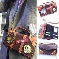 Wholesale Wallet Badges - Hogwarts School Badge Female Purse Chain Satchel Wallet PU Leather Messenger Bag Gift Cosplay Collection for Harry Potter Fans