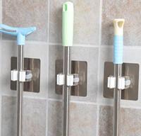 portavasos montado en la pared baño al por mayor-Hogar Jardín PVC Montado en la pared Soporte para fregona y escoba Estantes de baño Ventosa Ganchos de almacenamiento Organizador de herramientas de jardín reutilizable