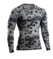 Wholesale Green Camouflage Shirt - 2017 NEW Man Gym Clothing Tshirt Long Sleeve Compression Fitness Men Tee Shirt Body Workout Clothes Camouflage Bodybuilding Wear