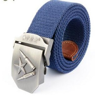 Wholesale Thick Canvas Belt - Red Star outdoor canvas belt buckle thick canvas belt knitting fashion students