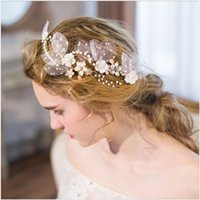 Wholesale Bridal Veil Hair Clip - Brand New Bridal Wedding Fresh Water Pearl Rhinestone Crystal Veil Gold Handmade Head Jewelry Tiara Hairband Headband Fascinator Hair Clip