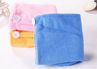 Wholesale Hair Drying Wrap Towel - 300pcs High Quality Microfiber Magic Hair Dry Drying Turban Wrap Towel Hat Cap Quick Dry Dryer Bath make up towel