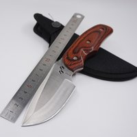 Wholesale Straight Blades Wholesale - Hot Buck Knife 076 Fixed Blade Type Camping Combat Hunting Knife Tactical Straight Knives 440C Stainless Steel Wood Handle Survival EDC Tool