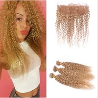 Pelo rubio virgen rubio miel opiniones-Kinky Curly Lace Frontal con Bundles # 27 Honey Blonde Deep Curly Cabello Virgen Humano con Frontal Blonde Ear To Ear Lace Frontal