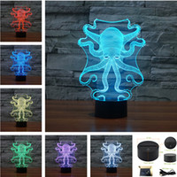 Wholesale Octopus Creative D Acrylic Visual Home Touch Table Lamp Colors Changing Art Decor USB LED Children s Desk Night Light TD158