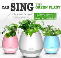 haut-parleurs de bureau achat en gros de-Mini haut-parleur subwoofer Bluetooth avec pot de fleurs sans fil Bluetooth avec LED Plusieurs couleurs Accueil Smart Plant Office Lecteur de musique MP3 Jouet
