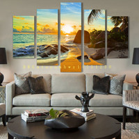 Wholesale Cheap Single Sheets - 5 panel island landscape painting canvas mural art home decoration living room canvas print modern painting - big canvas art cheap