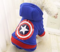 Wholesale xs dog sweaters - Autumn Winter Captain America Pet Clothes Product Supply Coat for Small Dogs Tidy Superhero Costume Fleece Puppy Suit Pet Supplies XS-XXL