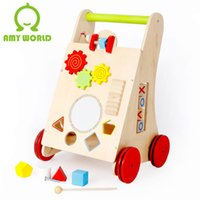 Wholesale Baby Walker Cart - 2017 free shiping baby wooden educational toys hot sale wooden Baby walker activity center baby favorite cart