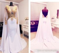 Wholesale One Piece Cape - Arabic Beaded Gold Appliques Prom Dresses Long Sleeve 2016 With Cape Backless Formal Evening Gowns 2017 Kftan Red Carpet Party Dress
