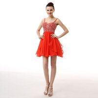 Wholesale Thin Dressed Sexy Girls - Thin Straps Short Prom Dresses Mini Sexy Real Model Homecoming Dresses Girls Party Beaded Cocktail Dresses sh0005