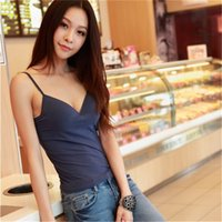 Wholesale Tank Tops Wholesales - Wholesale-Mainland Deep V Neck Sexy Padded Tank Top Strap Crochet Cropped Tank Top Camisole Adjustable Strap Bra Tank Tops High Quality