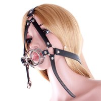 Wholesale head harness ring - 2015 Hot Sale Metal Double O Ring Open Mouth Gag Fetish Fantasy Adult Games Oral Fixation Gag Harness Head Restraint Sex Toys