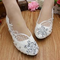 Wholesale White Bling Wedding Flat Shoes - New Arrival Crystals Wedding Shoes Bling White Lace Bridal Shoes Sweet Comfortable Prom Party Shoes Flat High Heel Available 2017