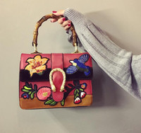 Wholesale Folk Artwork - sales brand handbag folk style custom embroidery embroidery woman handbag Harajuku wind bamboo bag retro snakeheads leather handbag