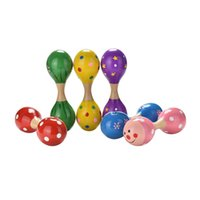 Wholesale Kids Percussion Instrument - Wholesale- Baby Kids Double Head Sand Hammer Rattles Musical Instrument Percussion Toy Colorful Babies Learning Wooden Ball Rattle Toy