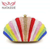 Wholesale Handbags Colourful - Wholesale-2016 Fashion Women Colourful Shell Shape Party Crystal Day Clutch Bag Rhinestone Handbag Female Wedding Purse With Chain