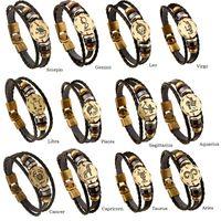 Wholesale Western Style Bracelets - Hot Selling Western Style Men's Alloy Bracelet The Zodiac Cowhide and PU Leather Bracelet with 2 Kinds of Size