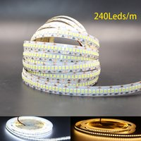 All'ingrosso-DC12V 2835 LED Strip luce 240 LED / m String Ribbon corda nastro per Decorat più luminoso di 3528 3014 bianco / bianco caldo