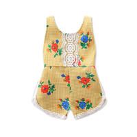 Wholesale Dress Long Back Leopard - Summer new yellow flower baby halter dressing jeans outbreak children's clothing girl lovely flower back strap halter