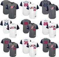 Wholesale 2017 USA Baseball Jerseys Giancarlo Stanton Adam Jones Nolan Arenado Buster Posey Eric Hosmer World Baseball Classic Jersey