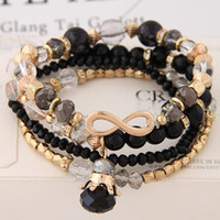 Wholesale Bracelet Directions - Bracelets For Women Bijoux Glasses Stone Beads Bracelets & Bangles Gold One Direction Multilayer Elastic Charm Pulsera