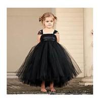 Wholesale Tutu Dresses Usa - 2017 New tutu black baby bridesmaid flower girl wedding dress tulle fluffy ball gown USA birthday evening prom cloth party dress