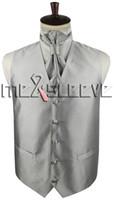 Wholesale Small Waistcoat - new arrive silver small stripe formal wear waistcoat (waistcoat+ascot tie+cufflinks+handkerchief)