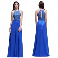 Wholesale Halter Top Beads - Cheap Royal Blue Chiffon Long Bridesmaid Dresses A Line Keyhole Beaded Appliqued Top Formal Vestidos de fiesta Prom Evening Gowns CPS538