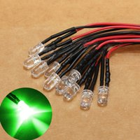 Wholesale Prewired Leds - 10pcs 12V 10 x Pre Wired 5mm LEDs Bulb 20cm 7.8in Prewired Water Clear LEG_242