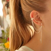 Wholesale stud earrings for teens earrings pierced ears earrings for teen girls Leaves tassel ear clips supplies ear clips hole ear clips shopping