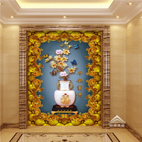 Wholesale Vintage Magnolia - Free Shipping 3D Jade Magnolia Vase Soft Fitted Entrance Mural Porch Custom Living Room Wallpaper Stereo Lobby Mural