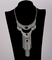 Wholesale Vintage Antique Silver Long Chains - 2017 Fashion Bohemian Vintage Necklace Antique Silver Turquoise Jewelry Long Tassel Necklace Statement Necklaces For Women