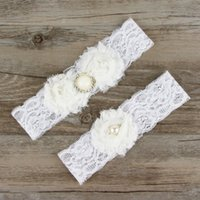 Wholesale Vintage Wedding Garter Sets - Wedding Lace Garter Set Vintage inspired Aqua With Pearl Wedding Stretch Lace Floral Garter Set With Flowers HJ096