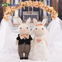 Wholesale Stuff Wedding Couple - Plush Sweet Cute Lovely Stuffed Baby Kids Toys Wedding Doll Couple Wedding Decoration Pressure Bed 12 Inch Metoo Doll